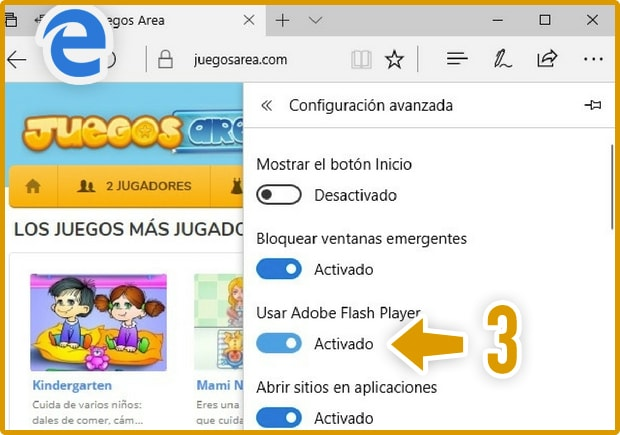 Activar Flash Player Microsoft Edge 2
