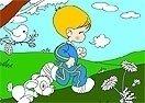 Colorea al niño corriendo